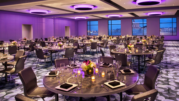 Our custom ring fixtures illuminate the Aloft ballroom.